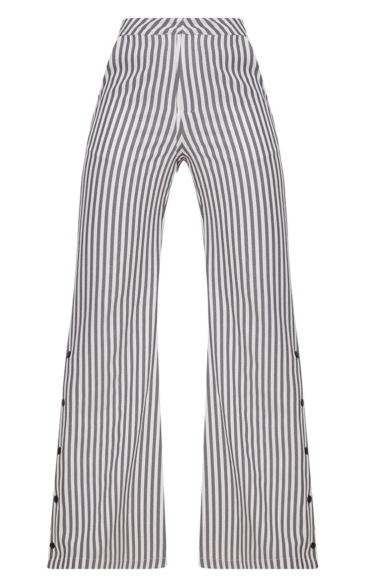 Black Humbug Stripe Popper Flared Trousers 3