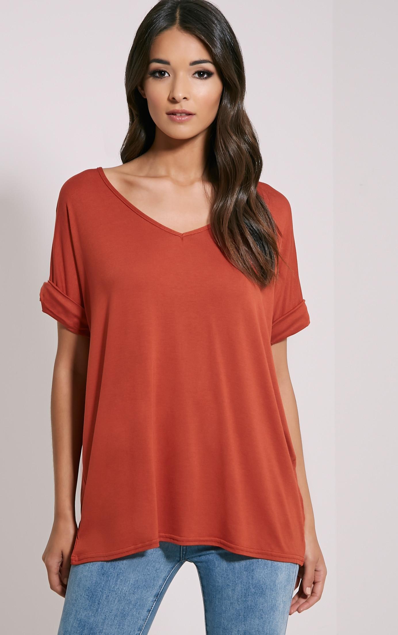 Basic Rust V Neck Oversized T-Shirt 1