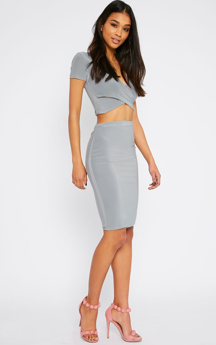 Arabella Grey Slinky Midi Skirt 1