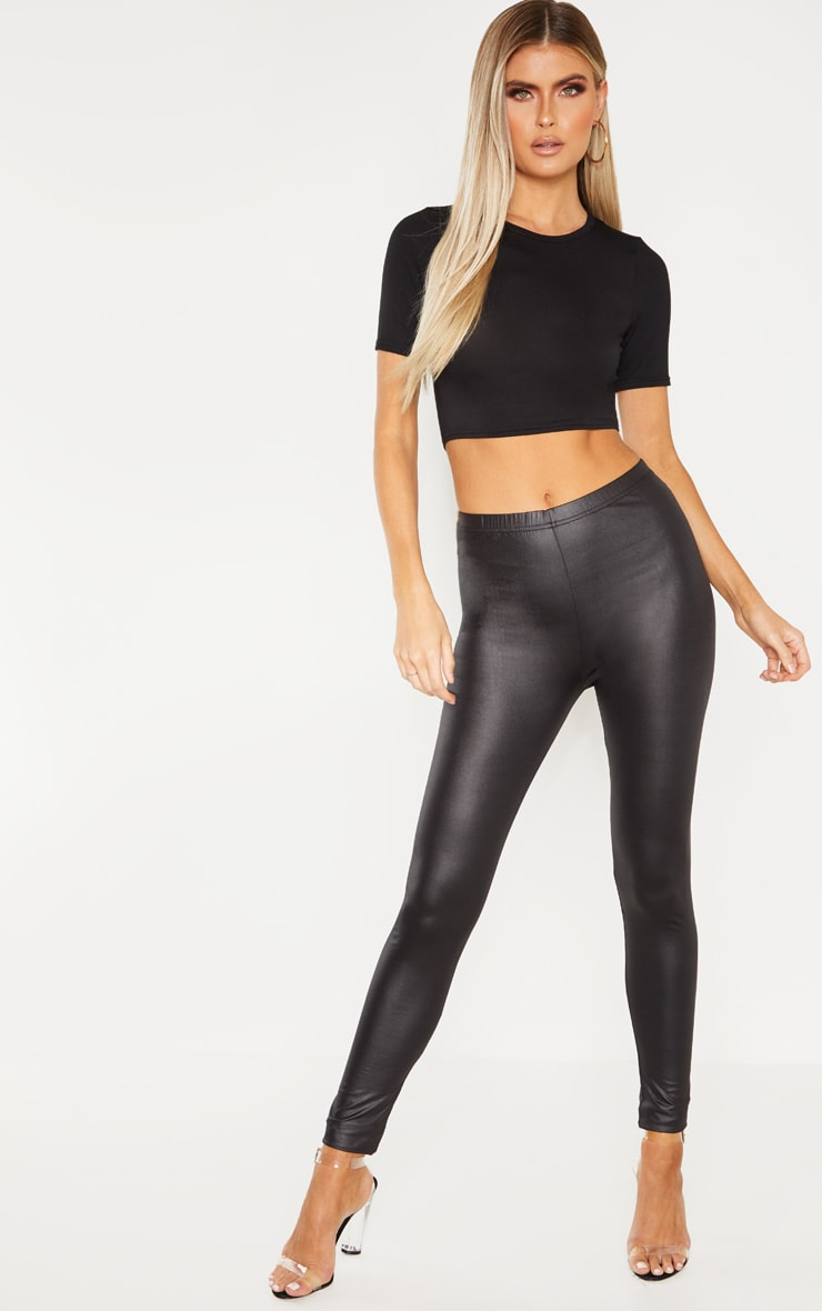 Tall  Black PU Leggings 1