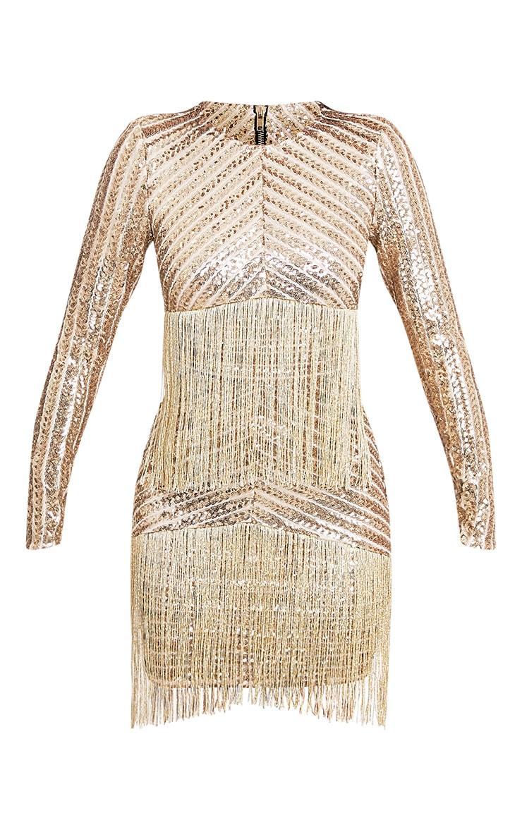 Lorannia Gold Premium Sequin Fringed Bodycon Dress 4