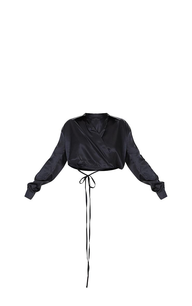 Black Satin Cropped Tie Waist Shirt 5