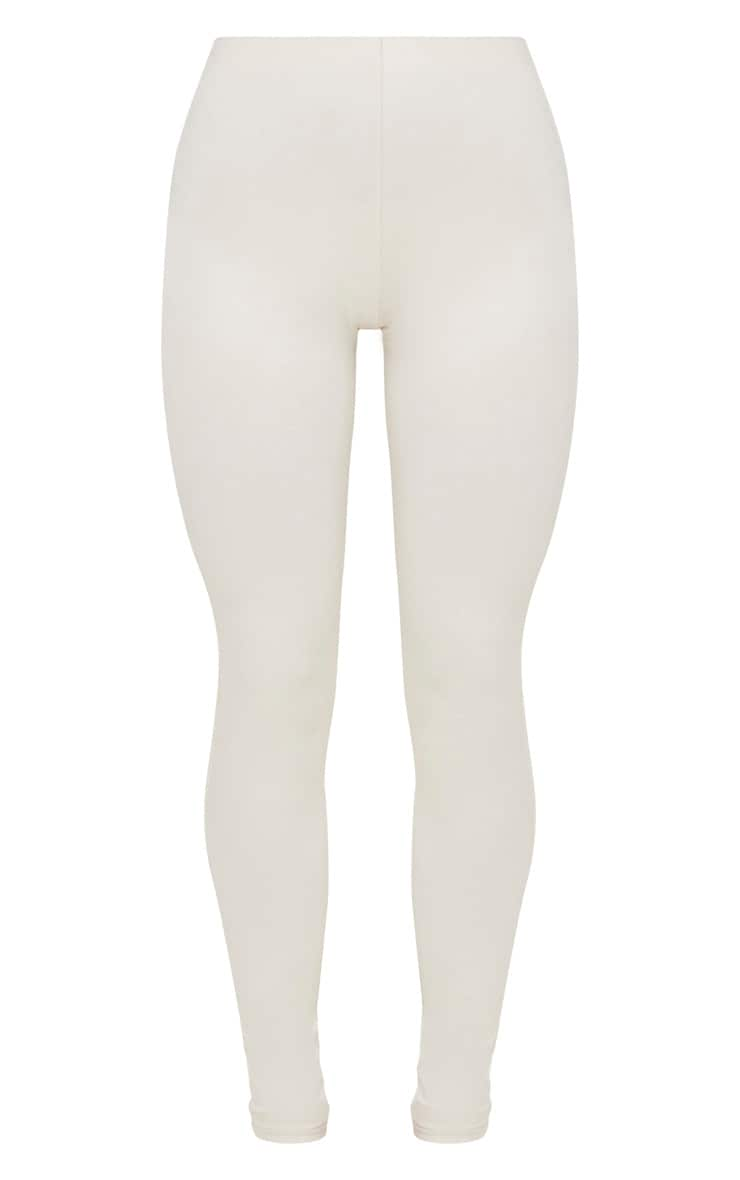 Cream High Waisted Cotton Stretch Leggings  2