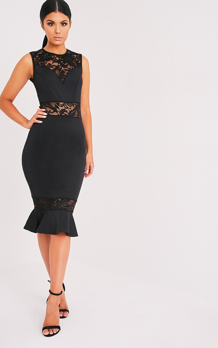 Cassie Black Lace Panel Fishtail Midi Dress 1