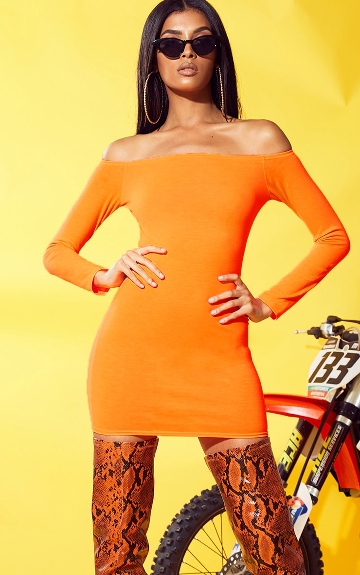 Neon Orange Bardot Bodycon Dress 1