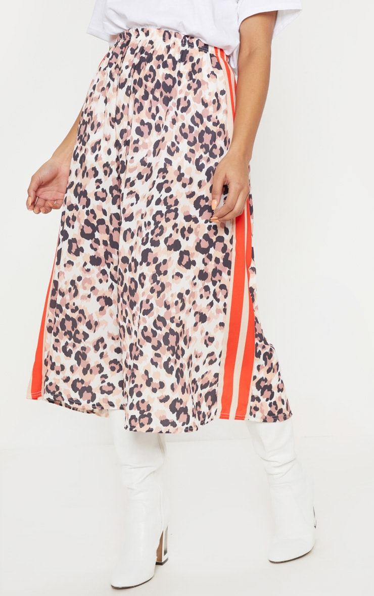 Chocolate Printed Sport Stripe Midi Skirt 2