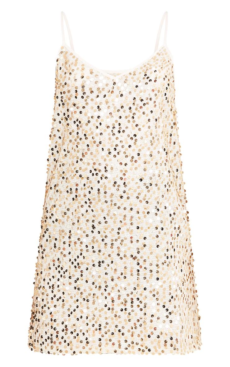 Measha Gold Strappy Sequin Shift Dress 3