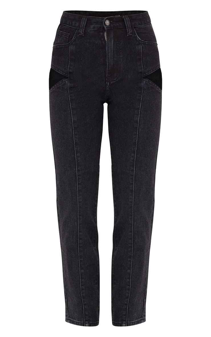 Washed Black Cut Out Seam Detail Straight Leg Jean 5