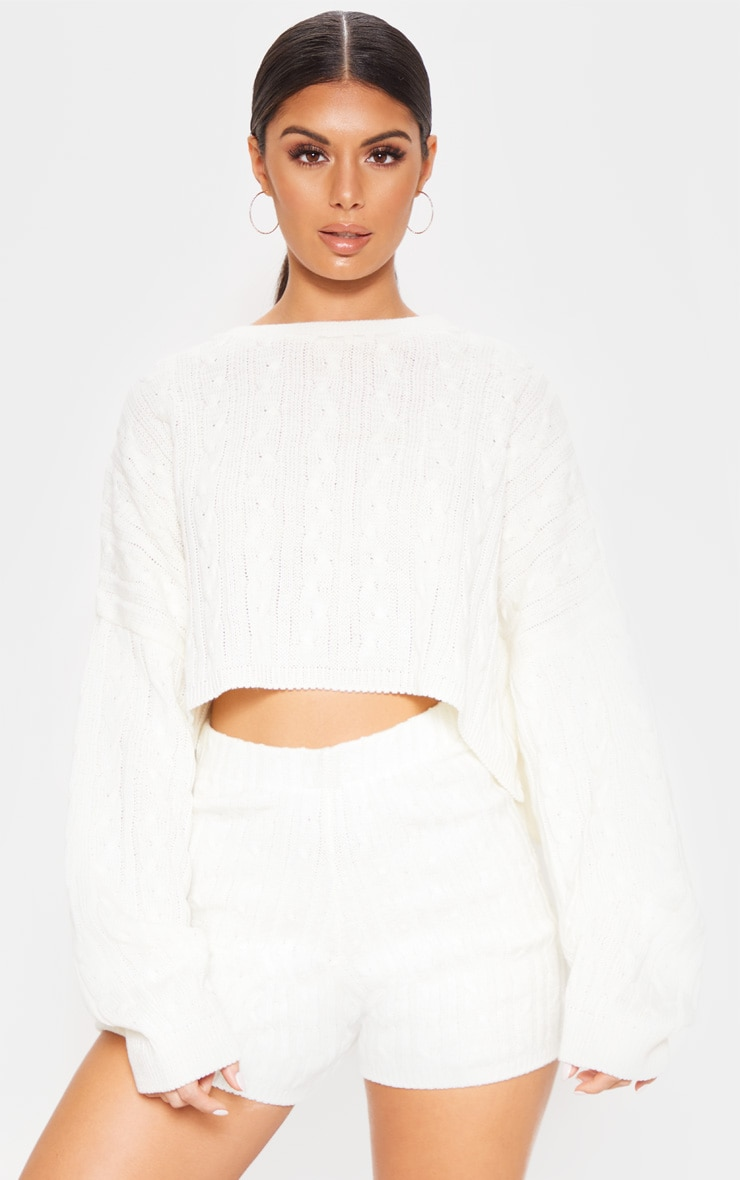 Cream Over sized Crop Knit Sweater 4