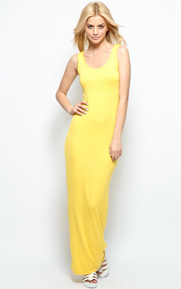 Zoe Yellow Jersey Scoop Neck Maxi Dress 1
