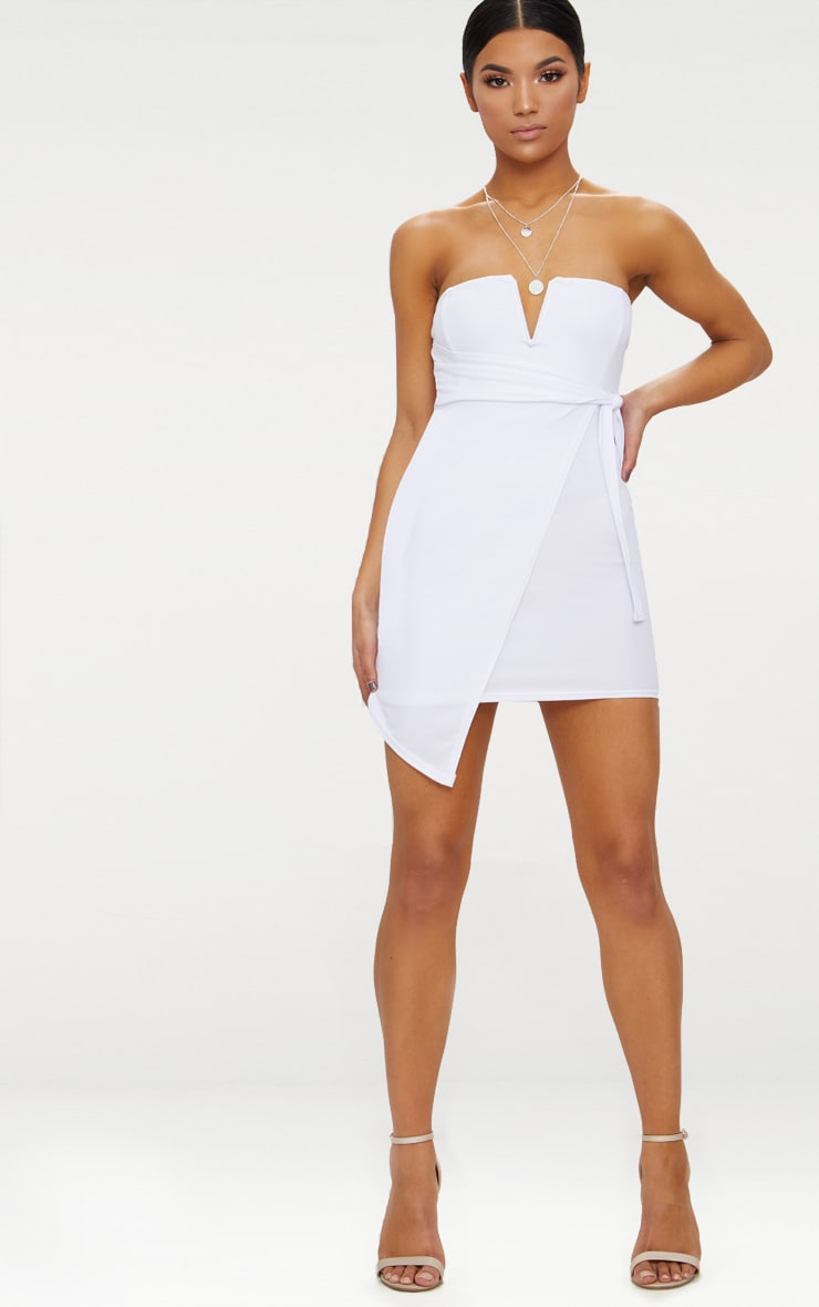 White V Bar Bandeau Wrap Bodycon Dress 4