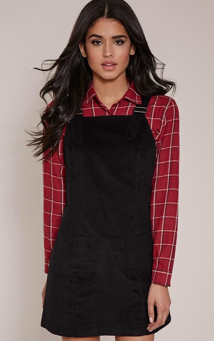 Maxine Black Cord Pinafore Dress 1