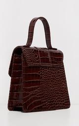 Mini-sac marron chocolat imitation croco à fermeture en métal 3