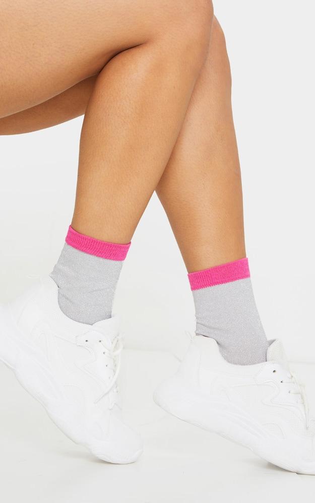 Silver Textured Glitter Ankle Socks 1