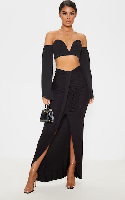 Black Jersey Drape Front Maxi Skirt