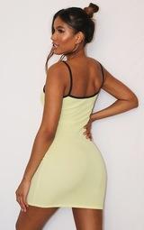 Yellow Banana Embroidery Contrast Straps Rib Bodycon Dress 2