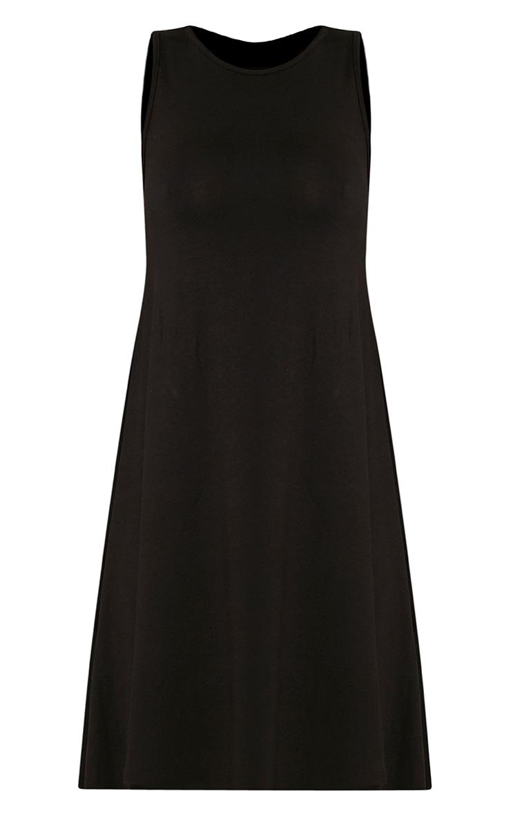 Basic robe trapèze noire sans manches 3