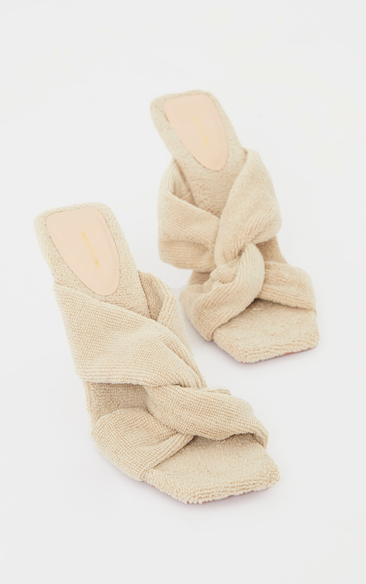 Sand Towelling Square Toe Knot Detail High Heeled Mules image 3